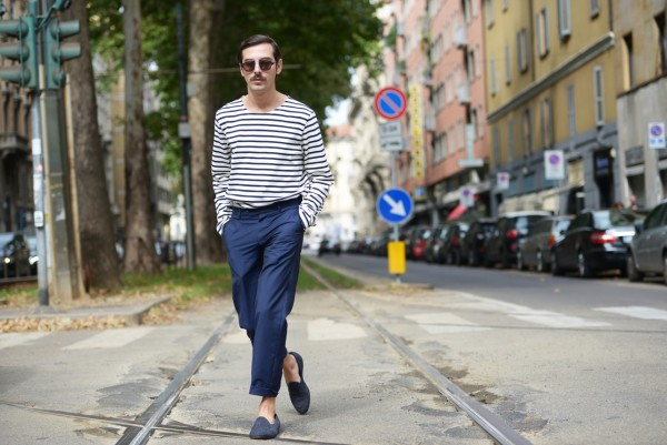 Milan fashion week 2015 day 4 striped navy streestyle